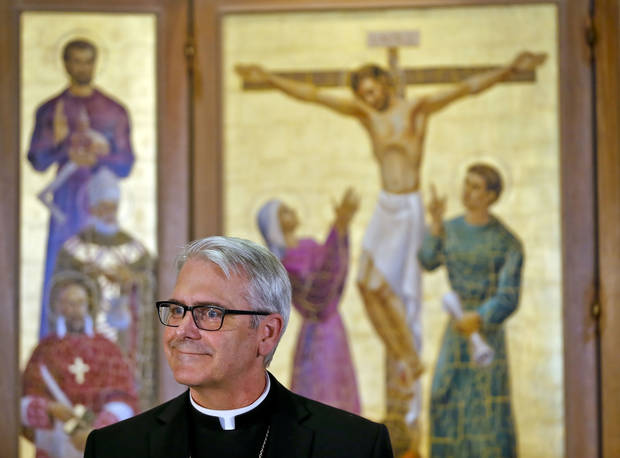 The Most Rev. Paul S. Coakley, archbishop of the Archdiocese of Oklahoma City, talks during a news conference on Wednesday at the Catholic Pastoral Center, 7501 Northwest Expressway. Photo by Chris Landsberger, The Oklahoman <strong></strong>
