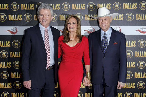 U.S actors Patrick Duffy, Linda Gray and Larry Hagman arrive for the Dallas launch party at a central London venue, Tuesday, Aug. 21, 2012. (AP Photo/Jonathan Short) ORG XMIT: LJS110
