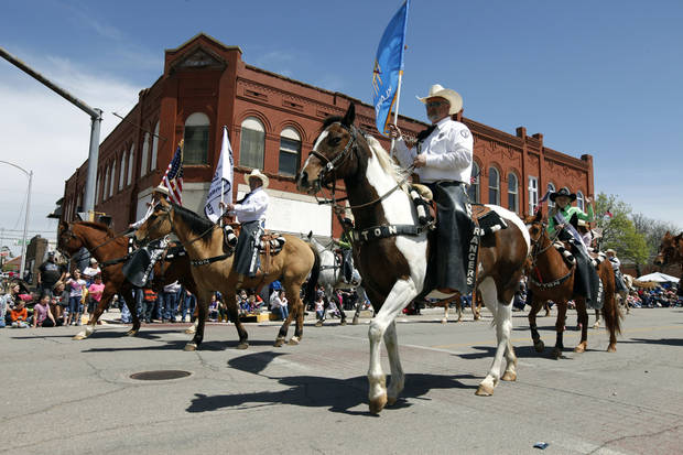 The Lawton Rangers ride their horses during the 89ers Day Parade in Guthrie, OK, Saturday, April 20, 2013,  By Paul Hellstern, The Oklahoman