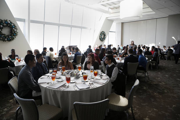 Above: John Marshall High School students participate during a senior lunch Thursday at Vast in the Devon Tower in Oklahoma City.