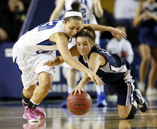Deer Creek's Ashley Gibson, left, and Shawnee's Bailey Taylor (20) chase the ball during the Class 5A girls championship high school basketball game in the state tournament at the Mabee Center in Tulsa, Okla., Saturday, March 9, 2013. Deer Creek defeated Shawnee, 59-44. Photo by Nate Billings, The Oklahoman