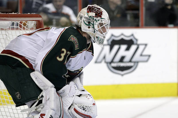 FILE - This Jan. 17, 2012 file photo shows Minnesota Wild goalie Josh Harding (37) during an NHL hockey game against the Philadelphia Flyers in Philadelphia. Harding has been diagnosed with multiple sclerosis. The Wild confirmed Thursday, Nov. 29, 2012 that Harding is undergoing treatment for the disease, which attacks the body's immune system and affects the central nervous system. The Star Tribune first reported the news. (AP Photo/Matt Slocum, File)