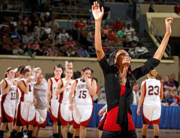 Boynton-Moton coach Shartese McHenry celebrates after her team's win over Frontier in the Class B girls basketball state tournament at the State Fair Arena in Oklahoma City, Friday, March 5, 2010.  Photo by Bryan Terry, The Oklahoman