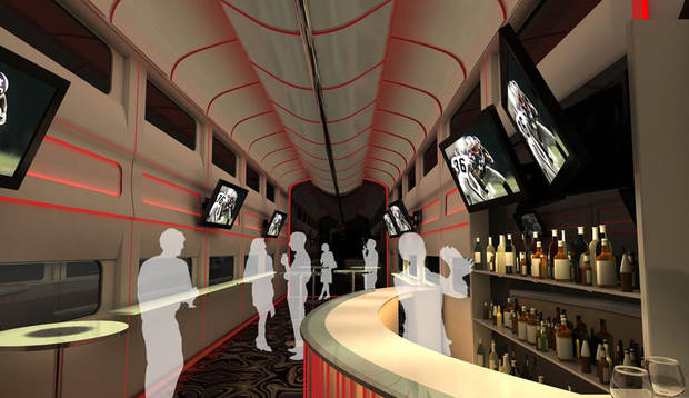 This undated artistic rendering provided by Las Vegas Railway Express shows the interior of the X Train, a proposed luxury �party train� that would run from Fullerton, Calif., to downtown Las Vegas. For $99 each way, passengers would get food, drinks, access to two on-board �ultra lounges� and other amenities. The company signed an agreement last week with Union Pacific Railroad allowing them to use a set of tracks that leads to downtown Las Vegas but hasn�t seen passenger traffic in 15 years.� (AP Photo/Las Vegas Railway Express)