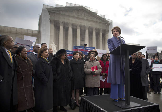 House Minority Leader Nancy Pelosi of Calif.,speaks during a rally outside the Supreme Court in Washington, Wednesday, Feb. 27, 2013, before arguments in the Shelby County, Ala., v. Holder voting rights case. The justices are hearing arguments in a challenge to the part of the Voting Rights Act that forces places with a history of discrimination, mainly in the Deep South, to get approval before they make any change in the way elections are held. (AP Photo/Evan Vucci)
