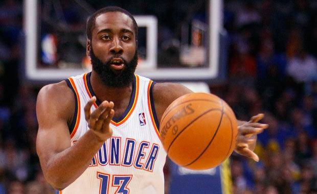 Oklahoma City's James Harden passes during the Thunder - Grizzlies game Saturday, January 8, 2011 at the Oklahoma City Arena. Photo by Hugh Scott, The Oklahoman