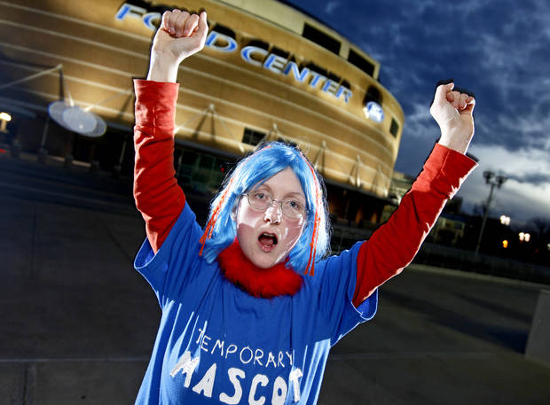Thunder super fan  Angela Love poses for a portrait outside the Ford Center in Oklahoma City, Thursday, Feb. 12, 2009. PHOTO BY BRYAN TERRY, THE OKLAHOMAN