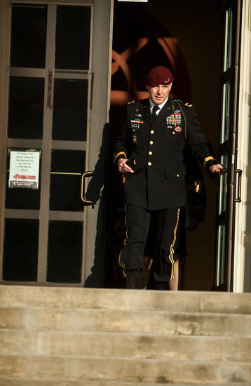 Army Brig. Gen. Jeffrey A. Sinclair leaves a Fort Bragg, N.C., courthouse Tuesday, Jan. 22, 2013, after he deferred entering a plea at his arraignment on charges of fraud, forcible sodomy, coercion and inappropriate relationships. Sinclair, who served five combat tours, is headed to trial following a spate of highly publicized military sex scandals involving high-ranking officers that has triggered a review of ethics training across the service branches.  (AP Photo/The Fayetteville Observer, Andrew Craft)