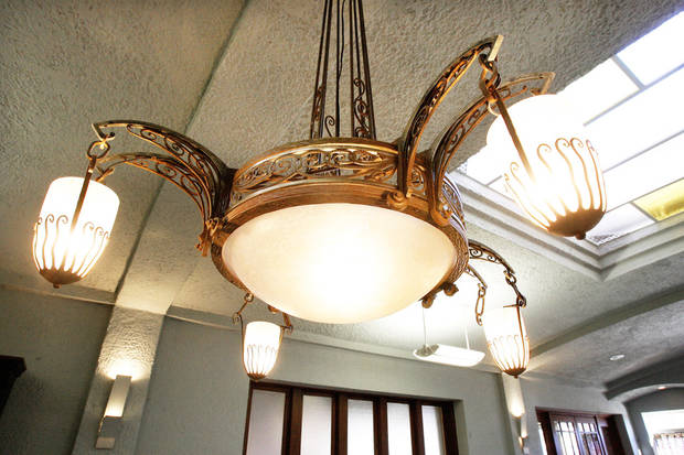 An Art Deco light fixture graces the lobby of the Sieber Hotel.  Photo BY  PAUL B. SOUTHERLAND,  THE OKLAHOMAN
