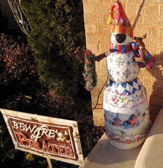 AHOY MATEY....The snowman at the front door of the Meredith home.  (Photo by Helen Ford Wallace)