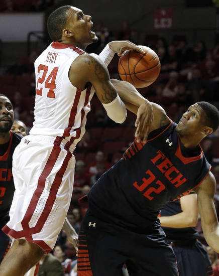 Oklahoma's Romero Osby (24) is fouled by Texas Tech's Jordan Tolbert (32) during an NCAA college basketball game between the University of Oklahoma and Texas Tech University at Lloyd Noble Center in Norman, Okla., Wednesday, Jan. 16, 2013. Photo by Bryan Terry, The Oklahoman