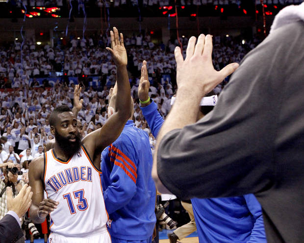 Oklahoma City&#039;s James Harden (13) celebrates following Game 2 of the first round in the NBA basketball playoffs between the Oklahoma City Thunder and the Dallas Mavericks at Chesapeake Energy Arena in Oklahoma City, Monday, April 30, 2012. Photo by Sarah Phipps, The Oklahoman