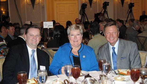 GAYLORD PRIZE....Joe Hight, Lt. Gov. Jari Askins and Tripp Hall.  (Photo by Helen FOrd Wallace).