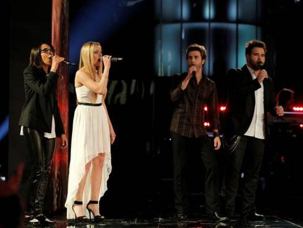"From left, Michelle Chamuel, winner Danielle Bradbery and Muskogee musicians Colton and Zach Swon of The Swon Brothers perform on the June 18 Season 4 finale of ""The Voice."" NBC photo"