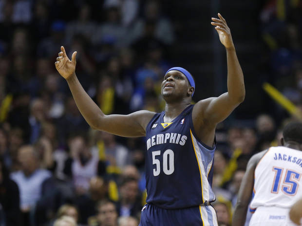Memphis Grizzlies forward Zach Randolph reacts after being called for a foul in the third quarter of an NBA basketball game against the Oklahoma City Thunder in Oklahoma City, Thursday, Jan. 31, 2013. Oklahoma City won 106-89. (AP Photo/Sue Ogrocki)