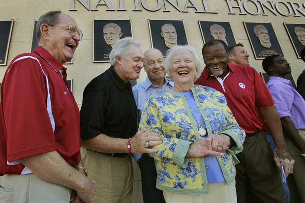 J.D. Roberts, Steve Owens, Jerry Tubbs, Suzanne Vessels (wife of Billy Vessels), Dewey Selmon (representing his brother Leroy), Rocky Calmus and Derreck Strait stand in front of bronzes at the unveiling of the National Honors display before the college football game between the University of Oklahoma Sooners (OU) and Utah State University Aggies (USU) at the Gaylord Family-Oklahoma Memorial Stadium on Saturday, Sept. 4, 2010, in Norman, Okla.   Photo by Steve Sisney, The Oklahoman