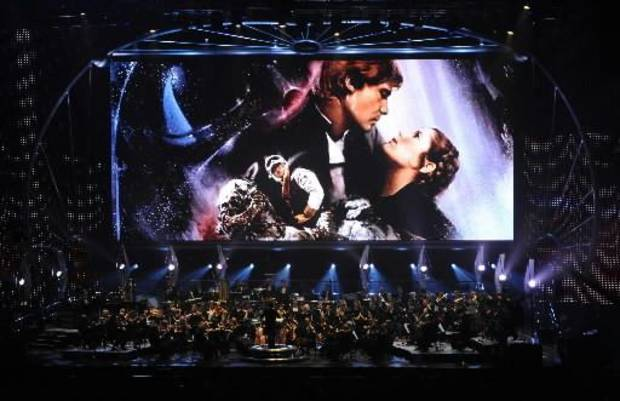 "Images from �"" Star  Wars: Episode V � The Empire Strikes Back� appear onscreen during � Star  Wars: In  Concert.� Photos Courtesy Lucasfilm LTD. ORG XMIT: 0910191609382760"