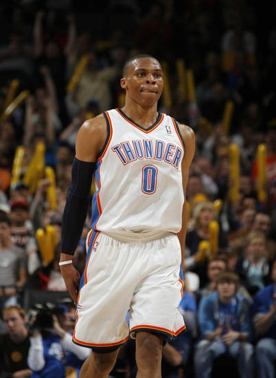 Oklahoma City's Russell Westbrook (0) celebrates during the NBA game between the Oklahoma City Thunder and the Portland Trailblazers, Sunday, March 27, 2011, at the Oklahoma City Arena. Photo by Sarah Phipps, The Oklahoman