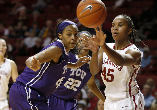 OU: Oklahoma&#039;s Jasmine Hartman (45) passes the ball beside TCU&#039;s Ashley Colbert (44) during a women&#039;s college basketball game between the University of Oklahoma and TCU at the Lloyd Noble Center in Norman, Okla., Wednesday, Jan. 30, 2013. Oklahoma won 74-53. Photo by Bryan Terry, The Oklahoman