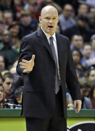 Milwaukee Bucks head coach Scott Skiles reacts to a call during the first half of an NBA basketball game against the Boston Celtics, Saturday, Dec. 1, 2012, in Milwaukee. (AP Photo/Morry Gash)