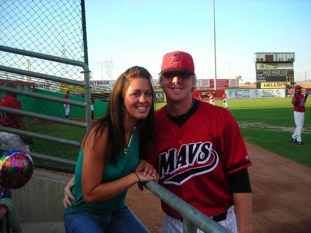 Melanie and Brandon Weeden at a minor league baseball game. PHOTO PROVIDED