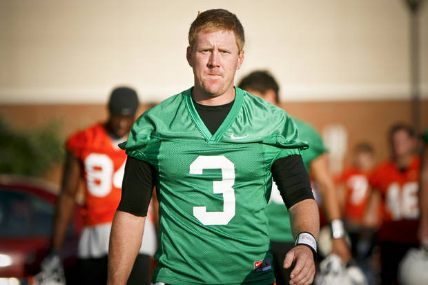 Quarterback Brandon Weeden (3) walks onto the field before OSU's first practice of the season on the campus of Oklahoma State University in Stillwater. ( Photo by Zach Gray, THE OKLAHOMAN)