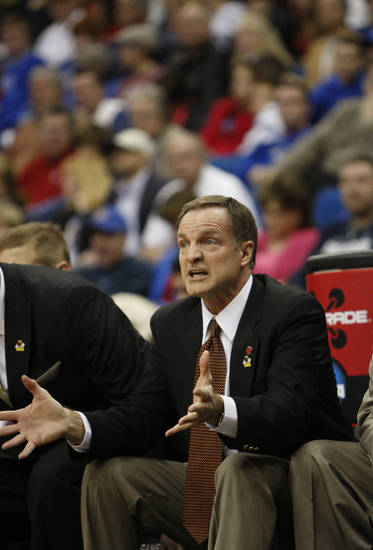 UNLV head coach Lon Kruger reacts from the bench in the first half of a Southwest Regional NCAA tournament second round college basketball game, Friday, March 18, 2011 in Tulsa, Okla. (AP Photo/)