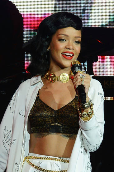 Rihanna performs her London 777 tour gig at the Kentish Town Forum on Monday, Nov. 19, 2012, in London. (Photo by Jon Furniss/Invision/AP)