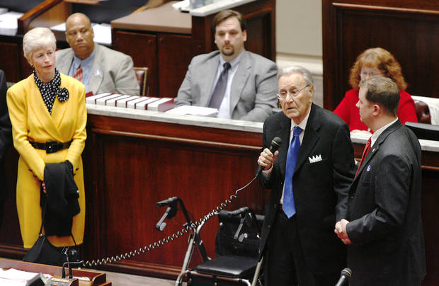 Oral Roberts, 91, televangelist and founder of Oral Roberts University in Tulsa, was honored with a proclamation in the Oklahoma Senate  Thursday,  May 7, 2009   At Roberts' side is Sen. Danny Newberry. At left is Roberts' daughter.  Photo by JIM BECKEL, THE OKLAHOMAN