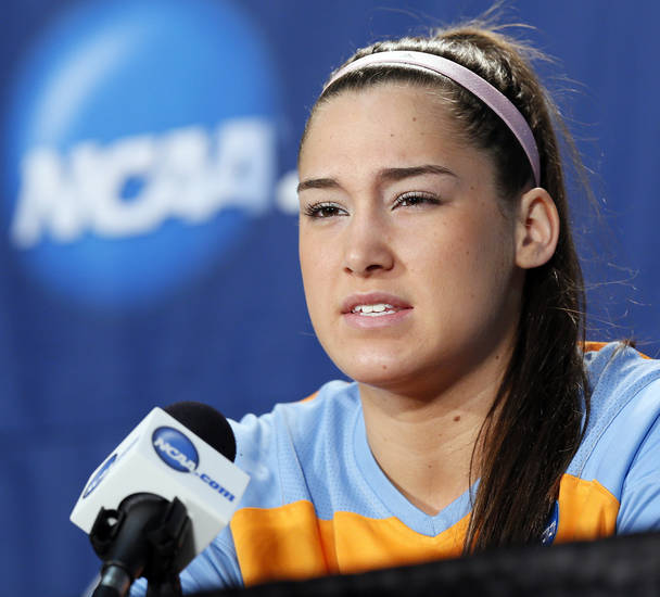 Tennessee's Taber Spani (13) speaks to the media during the press conference and practice day at the Oklahoma City Regional for the NCAA women's college basketball tournament at Chesapeake Energy Arena in Oklahoma City, Saturday, March 30, 2013. Photo by Nate Billings, The Oklahoman