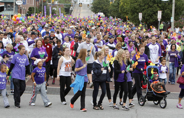 Walkers begin the 2012 Oklahoma City Walk to End Alzheimer's at Bricktown Ballpark in Oklahoma City, OK, Saturday, September 15, 2012,  By Paul Hellstern, The Oklahoman