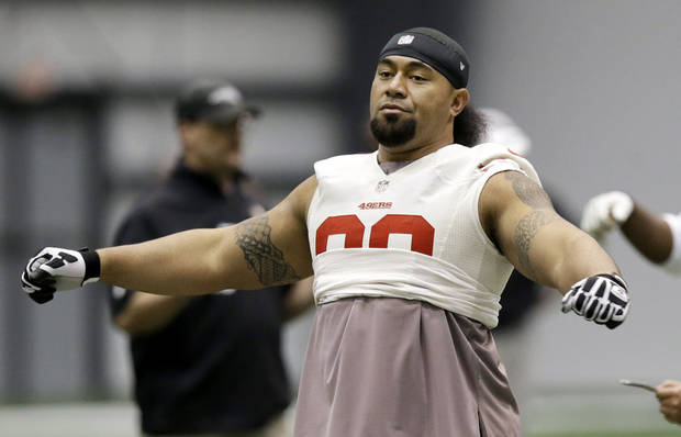 San Francisco 49ers defensive tackle Isaac Sopoaga warms up during practice on Friday, Feb. 1, 2013, in New Orleans. The 49ers are scheduled to play the Baltimore Ravens in the NFL Super Bowl XLVII football game on Feb. 3. (AP Photo/Mark Humphrey)