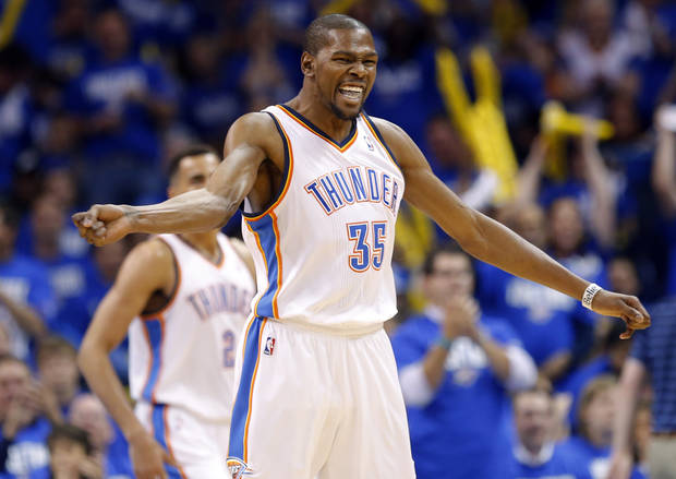 Oklahoma City's Kevin Durant (35) celebrates during Game 1 in the first round of the NBA playoffs between the Oklahoma City Thunder and the Houston Rockets at Chesapeake Energy Arena in Oklahoma City, Sunday, April 21, 2013. Photo by Sarah Phipps, The Oklahoman