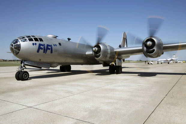 The last airworthy B-29 Superfortress flies into Wiley Post Airport in Oklahoma City, OK, Tuesday, October 2, 2012. It will be on exhibit for six days at Wiley Post Airport.  By Paul Hellstern, The Oklahoman