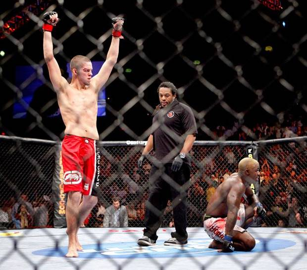 Nate Diaz, left, celebrates after beating Melvin Guillard during UFC Fight Night at the Cox Convention Center in Oklahoma City, Wednesday, September 16, 2009.  Photo by Bryan Terry, The Oklahoman