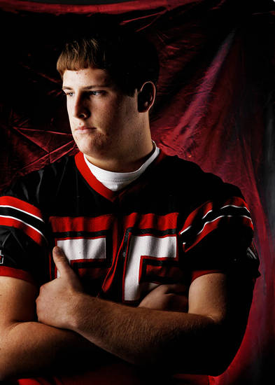 Mustang High School's Logan Clair All Big City Offensive Lineman. 