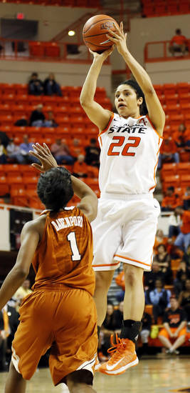 Oklahoma State's Brittney Martin (22) shoots over Texas' Empress Davenport (1) during a women's college basketball game between Oklahoma State University (OSU) and the University of Texas at Gallagher-Iba Arena in Stillwater, Okla., Saturday, March 2, 2013. Photo by Nate Billings, The Oklahoman