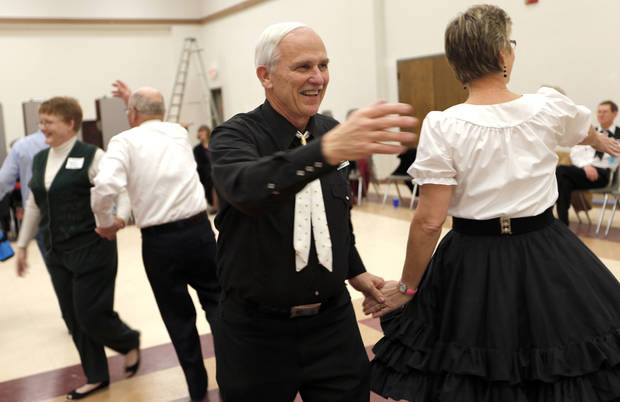 Myron Brown dances during a Teacup Chains Square Dance Club open house.  Photos by Sarah Phipps, The Oklahoman