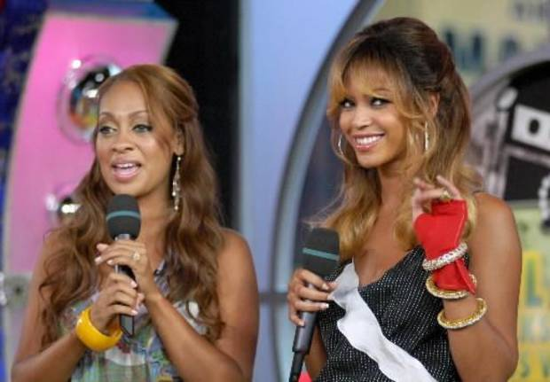 Lala Vazquez, left, and Beyonce on an MTV show in 2006. (AP Photo/Paul Hawthorne)