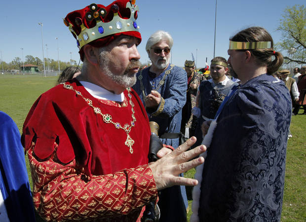 King Edward III, (aka Cody Clark) talks with participants during dress rehearsals for Norman Medieval Fair on Saturday, March 24, 2012, in Norman, Okla.  Photo by Steve Sisney, The Oklahoman