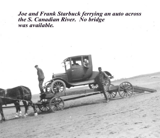 AUTO FERRY Years ago, when there was no bridge across the S. Canadian River between Lexington and Purcell, autos were taken across on a sledlike contraption pulled by horses.<br/><b>Community Photo By:</b> Starbuck family<br/><b>Submitted By:</b> Nancy,