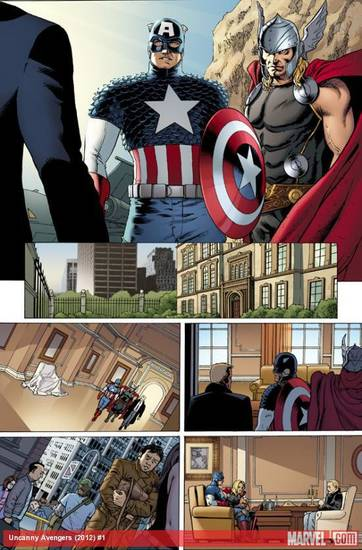 "Preview art from ""Uncanny Avengers"" No. 1. Marvel Comics. <strong></strong>"