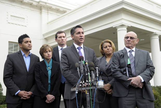 Dan Gross, President of the Brady Campaign to Prevent Gun Violence, center, speaks outside the White House in Washington, Wednesday, Jan. 9, 2013, following a meeting with Vice President Joe Biden, victims� groups and gun safety organizations in the Eisenhower Executive Office Building on the White House complex. From left are, William Kellibrew, Witness to Violence & Founder William Kellibrew Foundation; Hildy Saizow of Arizona for Gun Safety; Colin Goddard, a survivor of Virginia Tech shooting; Annette Nance-Holt, mother of victim to gang violence; and Lonnie Phillips, stepfather of  a Aurora, Colo., shooting victim. Biden is holding a series of meetings this week as part of the effort he is leading to develop policy proposals in response to the Newtown, Conn., school shooting. (AP Photo/Susan Walsh)