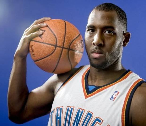 D.J.  White of the Oklahoma City Thunder poses for a portrait during Thunder media day on Monday, September 29, 2008. BY BRYAN TERRY