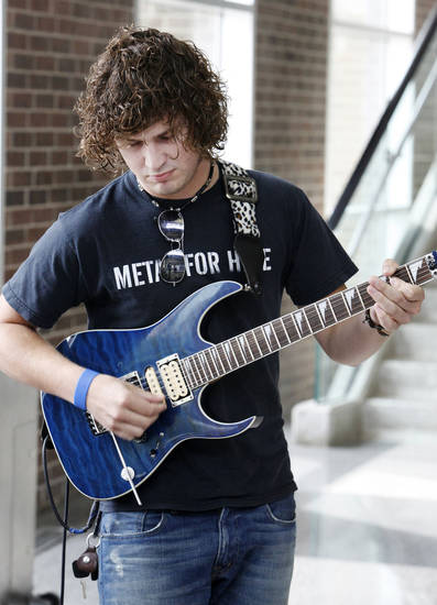 ACM@UCO student guitarist Dwight Hamlin playing  during an announcement Monday, May 14, 2012, that Van Halen will perform Sept. 15 at Chesapeake Energy Arena.  Photo by Paul B. Southerland, The Oklahoman