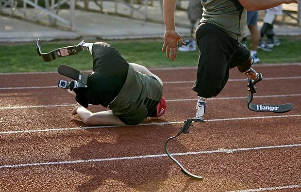 Ugur Yumuk of Turkey falls down while training in Edmond, Okla., Wednesday, June 8, 2011. Yumuk will be running at the Endeavor games for the first time. Photo by Bryan Terry, The Oklahoman