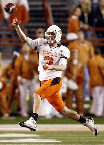 Oklahoma State's Brandon Weeden (3) during the college football game between the Oklahoma State University Cowboys (OSU) and the University of Texas Longhorns (UT) at Darrell K Royal-Texas Memorial Stadium in Austin, Texas, Saturday, November 13, 2010. Photo by Sarah Phipps, The Oklahoman