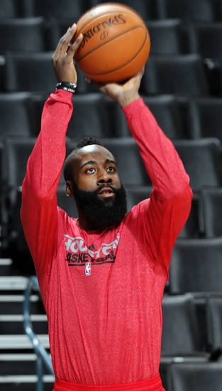 Houston&#039;s James Harden (13) warms up in shoot around during the NBA basketball game between the Houston Rockets and the Oklahoma City Thunder at the Chesapeake Energy Arena on Wednesday, Nov. 28, 2012, in Oklahoma City, Okla.   Photo by Chris Landsberger, The Oklahoman