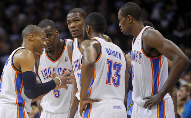 From left, Oklahoma City&#039;s Russell Westbrook (0), Kendrick Perkins (5), Kevin Durant (35), James Harden (13), and Serge Ibaka (9) gather during the NBA basketball game between the Denver Nuggets and the Oklahoma City Thunder in the first round of the NBA playoffs at the Oklahoma City Arena, Wednesday, April 27, 2011. Photo by Bryan Terry, The Oklahoman.