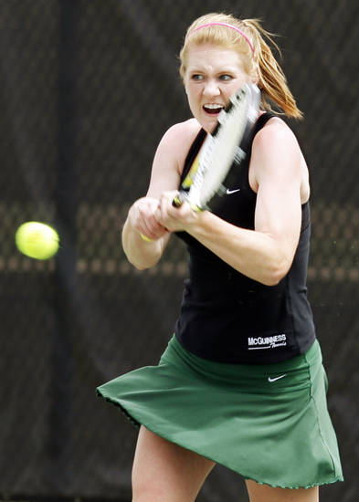 Emily Conrad of Bishop McGuinness competes in the Class 5A girls #2 singles final during the Class 4A, 5A and 6A girls state tennis championships at the Oklahoma City Tennis Center in Oklahoma City, Saturday, May 8, 2010. Photo by Nate Billings, The Oklahoman